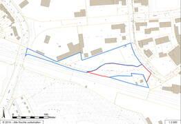 Lageplan (rot: Eigentum Stadt Essen, blau: Fremdeigentum)